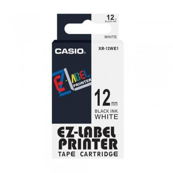 Casio Ez-Label Tape Cartridge - 12mm, Black on White (XR-12WE1)