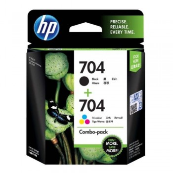HP 704 Combo Pack Black/Tri-color Original Ink Advantage Cartridges (F6V33AA)