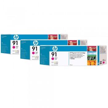 HP 91 DesignJet Pigment Ink Cartridges (3-pack) 775-ml - Magenta (C9484A )
