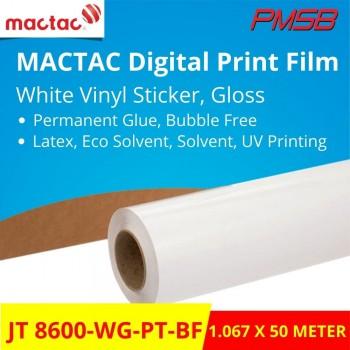 JT 8600-WG-PT-BF MACTAC WHITE VINYL STICKER, GLOSSY, BUBBLE FREE (1.067M X 50M)