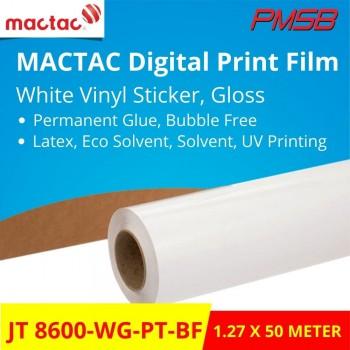 JT 8600-WG-PT-BF MACTAC WHITE VINYL STICKER, GLOSSY, BUBBLE FREE (1.27 X 50M)