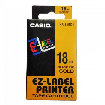 Casio Ez-Label Printer Tape Cartridge - 18mm, Black on Gold (XR-18GD1)