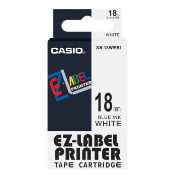Casio Ez-Label Printer Tape Cartridge - 18mm, Blue on White (XR-18WEB1)