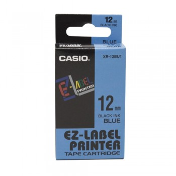 Casio Ez-Label Tape Cartridge - 12mm, Black on Blue (XR-12BU1)