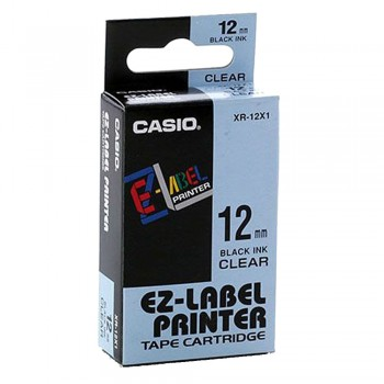 Casio Ez-Label Tape Cartridge - 12mm, Black on Clear (XR-12X1)
