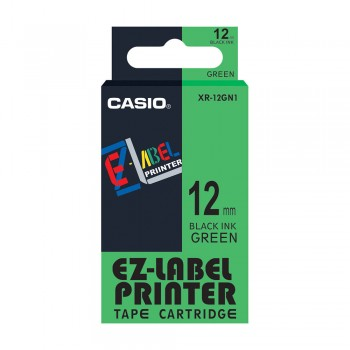 Casio Ez-Label Tape Cartridge - 12mm, Black on Green (XR-12GN1)