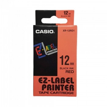 Casio Ez-Label Tape Cartridge - 12mm, Black on Red (XR-12RD1)