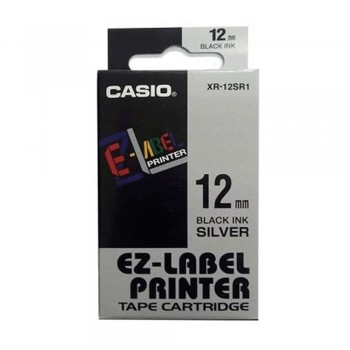 Casio Ez-Label Tape Cartridge - 12mm, Black on Silver (XR-12SR1)